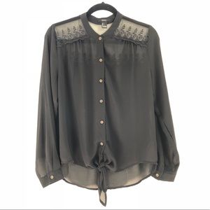F21 sheer embroidered top